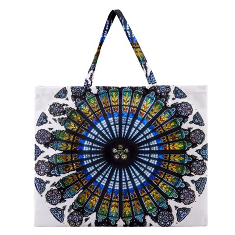 Rose Window Strasbourg Cathedral Zipper Large Tote Bag