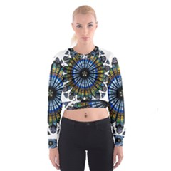 Rose Window Strasbourg Cathedral Women s Cropped Sweatshirt