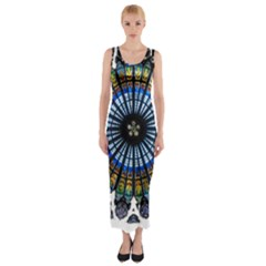 Rose Window Strasbourg Cathedral Fitted Maxi Dress