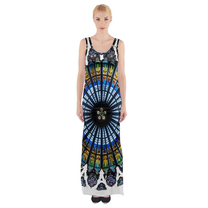 Rose Window Strasbourg Cathedral Maxi Thigh Split Dress
