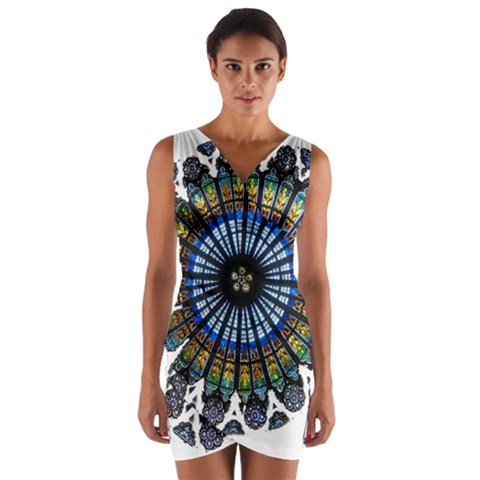 Rose Window Strasbourg Cathedral Wrap Front Bodycon Dress