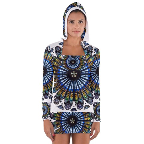 Rose Window Strasbourg Cathedral Women s Long Sleeve Hooded T-shirt