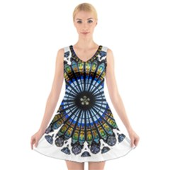 Rose Window Strasbourg Cathedral V-Neck Sleeveless Skater Dress