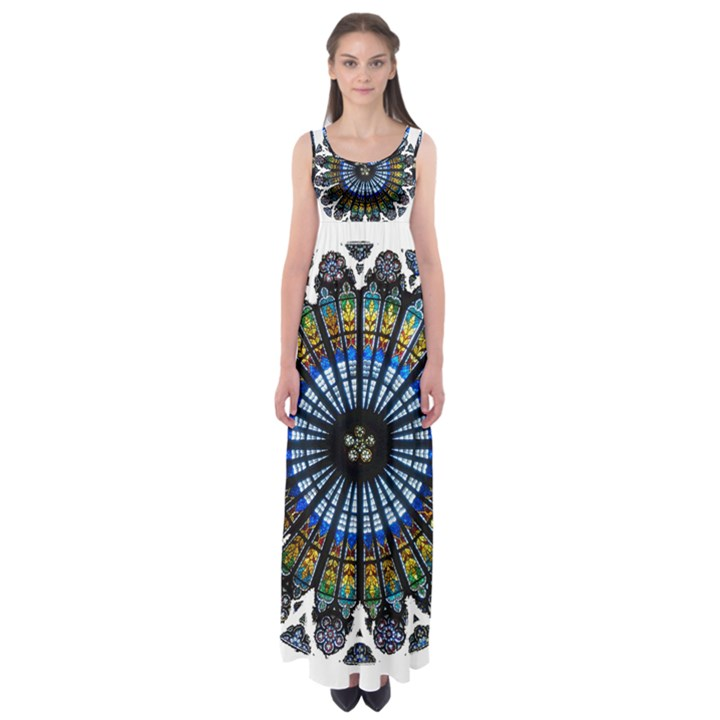 Rose Window Strasbourg Cathedral Empire Waist Maxi Dress