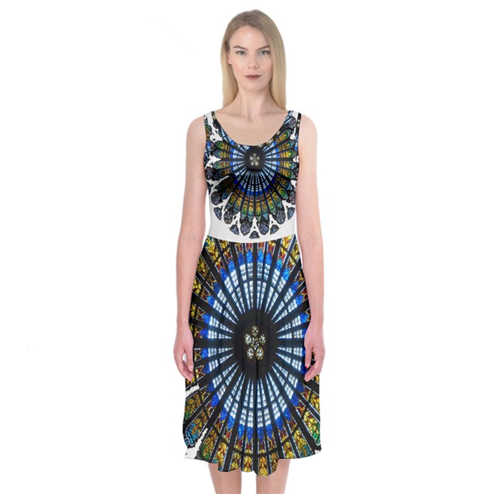 Rose Window Strasbourg Cathedral Midi Sleeveless Dress