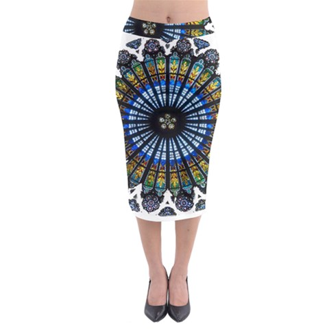 Rose Window Strasbourg Cathedral Midi Pencil Skirt