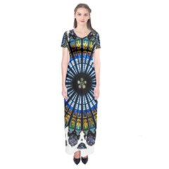 Rose Window Strasbourg Cathedral Short Sleeve Maxi Dress