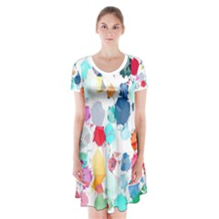 Colorful Diamonds Dream Short Sleeve V-neck Flare Dress