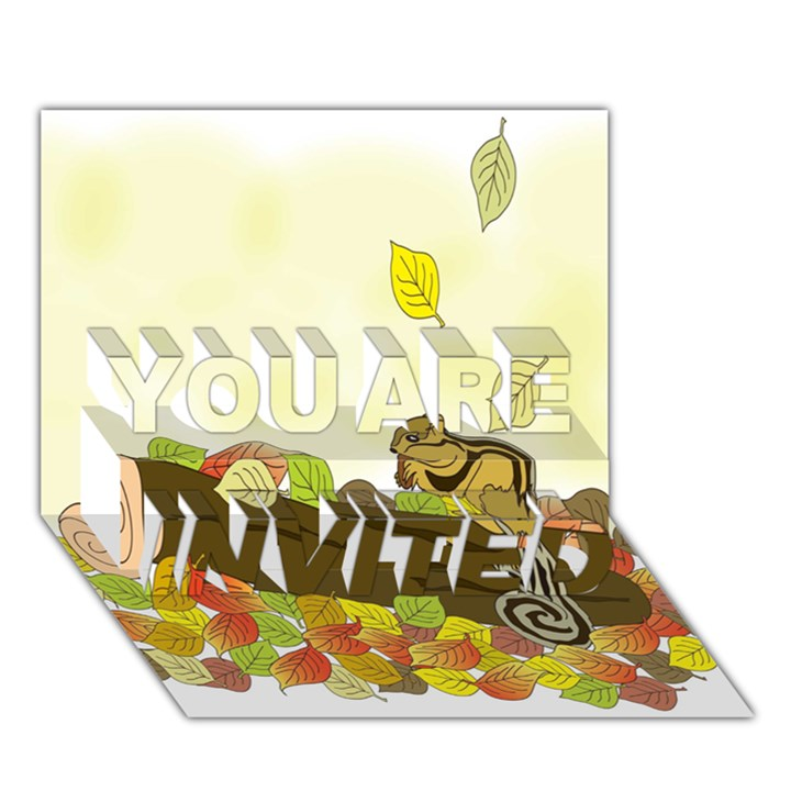 Squirrel  YOU ARE INVITED 3D Greeting Card (7x5)