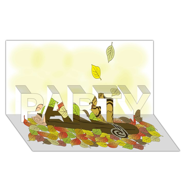 Squirrel  PARTY 3D Greeting Card (8x4)