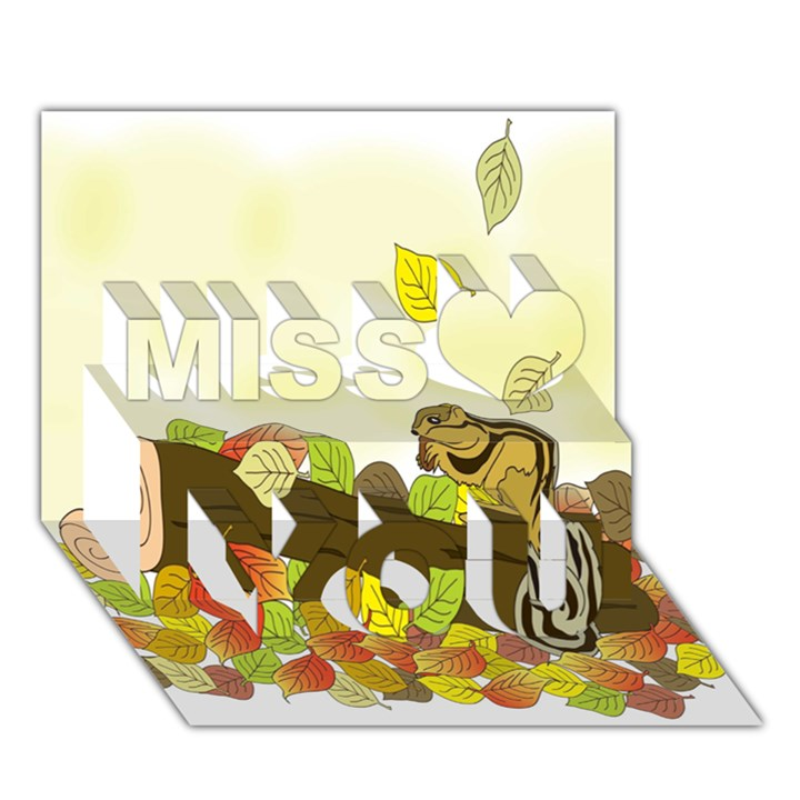 Squirrel  Miss You 3D Greeting Card (7x5)
