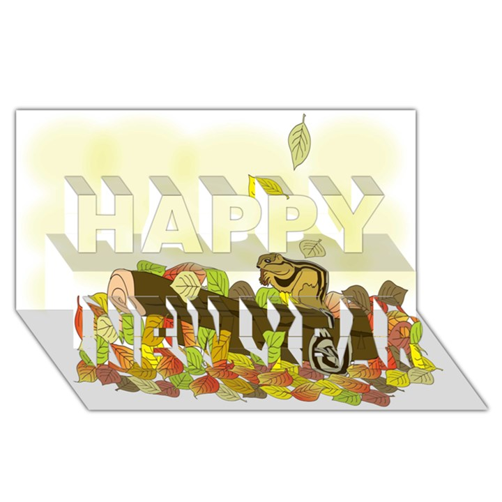 Squirrel  Happy New Year 3D Greeting Card (8x4)