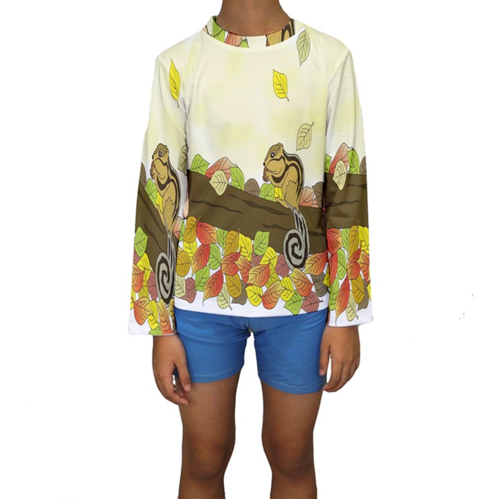 Squirrel  Kids  Long Sleeve Swimwear