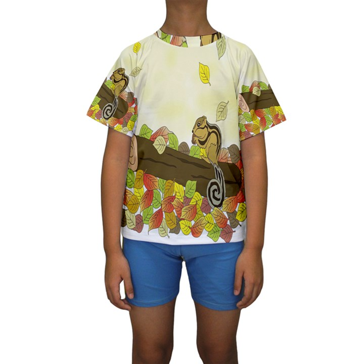 Squirrel  Kids  Short Sleeve Swimwear