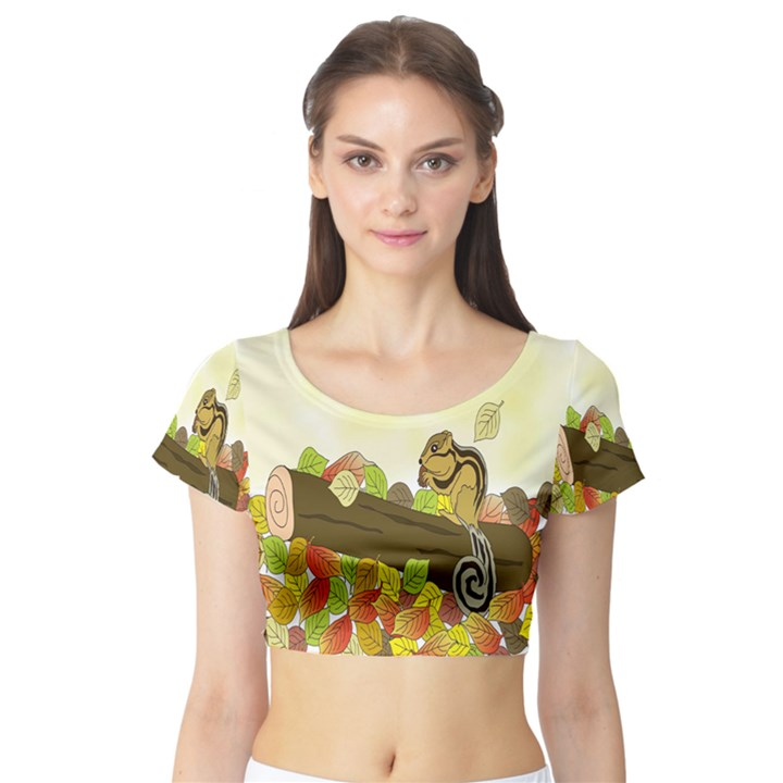 Squirrel  Short Sleeve Crop Top (Tight Fit)
