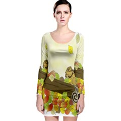 Squirrel  Long Sleeve Bodycon Dress