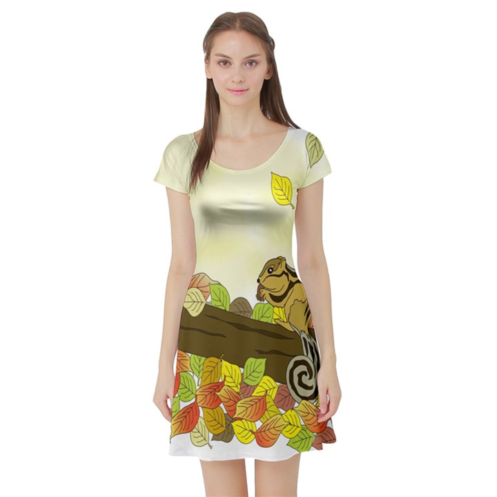 Squirrel  Short Sleeve Skater Dress