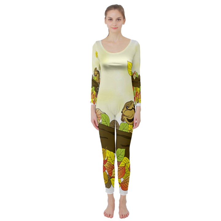 Squirrel  Long Sleeve Catsuit