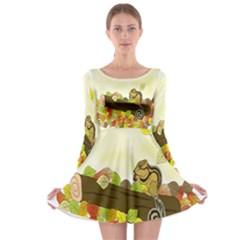 Squirrel  Long Sleeve Skater Dress