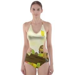 Squirrel  Cut-Out One Piece Swimsuit
