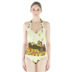 Squirrel  Halter Swimsuit
