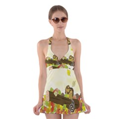 Squirrel  Halter Swimsuit Dress