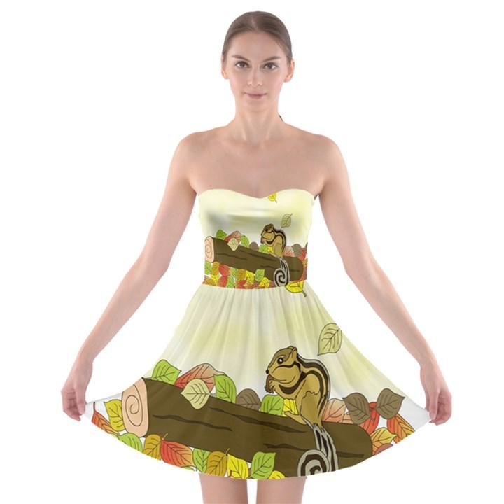 Squirrel  Strapless Bra Top Dress