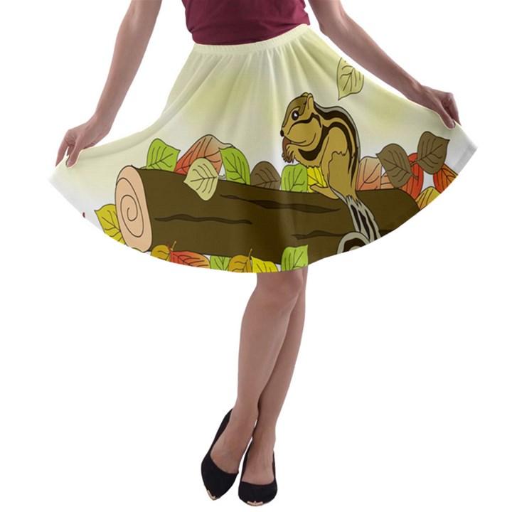 Squirrel  A-line Skater Skirt