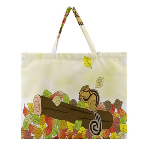 Squirrel  Zipper Large Tote Bag