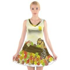 Squirrel  V-Neck Sleeveless Skater Dress