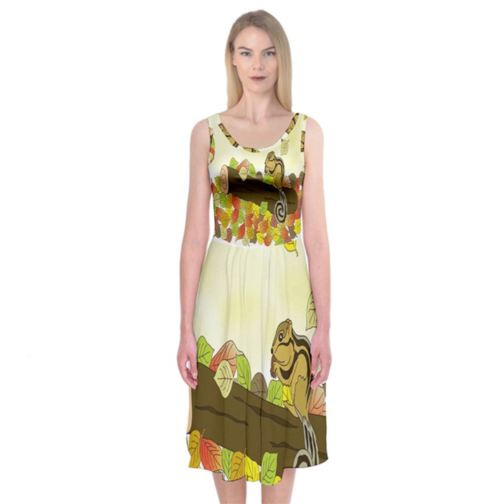 Squirrel  Midi Sleeveless Dress