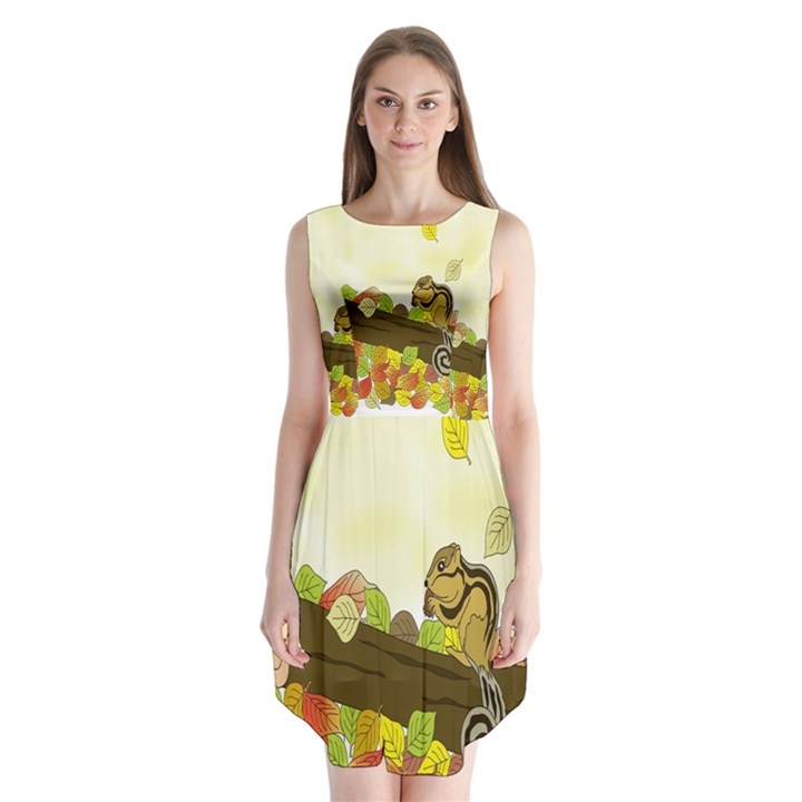Squirrel  Sleeveless Chiffon Dress