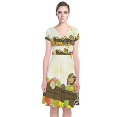 Squirrel  Short Sleeve Front Wrap Dress