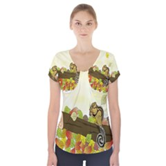 Squirrel  Short Sleeve Front Detail Top