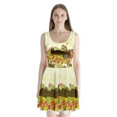 Squirrel  Split Back Mini Dress