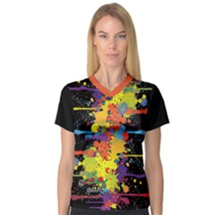 Crazy Multicolored Double Running Splashes Women s V Neck Sport Mesh Tee