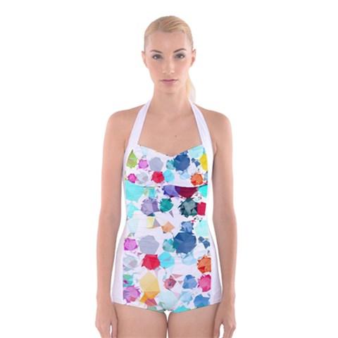 Colorful Diamonds Dream Boyleg Halter Swimsuit