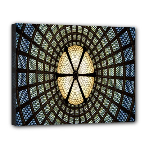 Stained Glass Colorful Glass Canvas 14  x 11