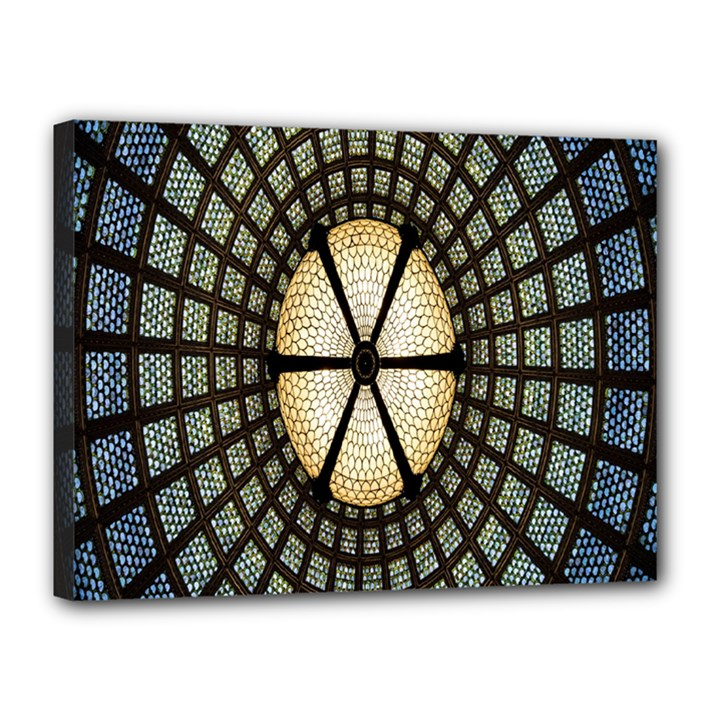 Stained Glass Colorful Glass Canvas 16  x 12