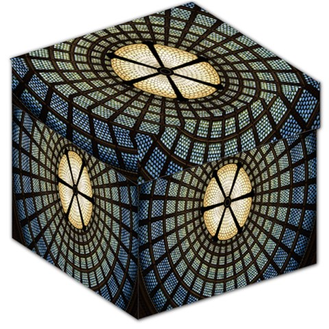 Stained Glass Colorful Glass Storage Stool 12