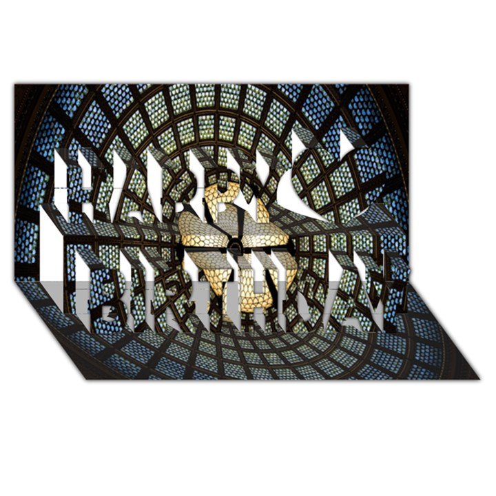 Stained Glass Colorful Glass Happy Birthday 3D Greeting Card (8x4)