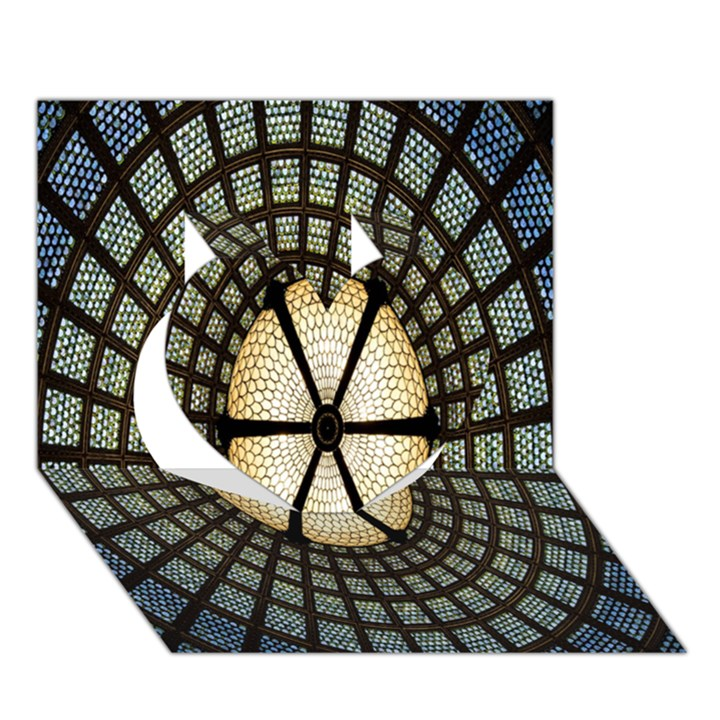 Stained Glass Colorful Glass Heart 3D Greeting Card (7x5)