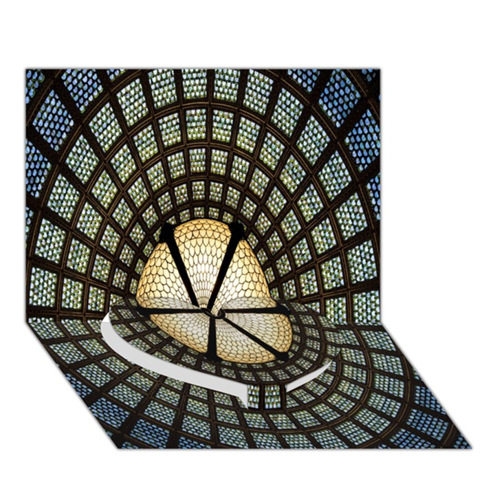 Stained Glass Colorful Glass Heart Bottom 3D Greeting Card (7x5)