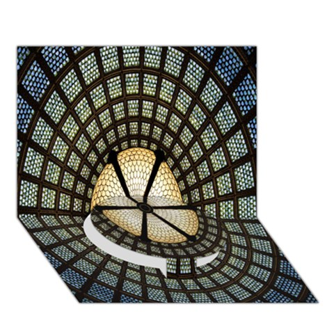 Stained Glass Colorful Glass Circle Bottom 3D Greeting Card (7x5)