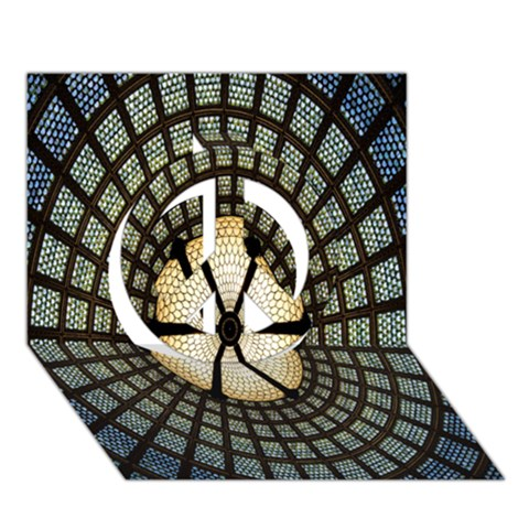 Stained Glass Colorful Glass Peace Sign 3D Greeting Card (7x5)