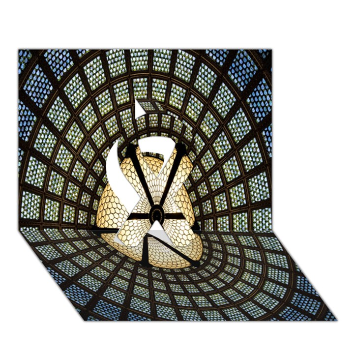 Stained Glass Colorful Glass Ribbon 3D Greeting Card (7x5)
