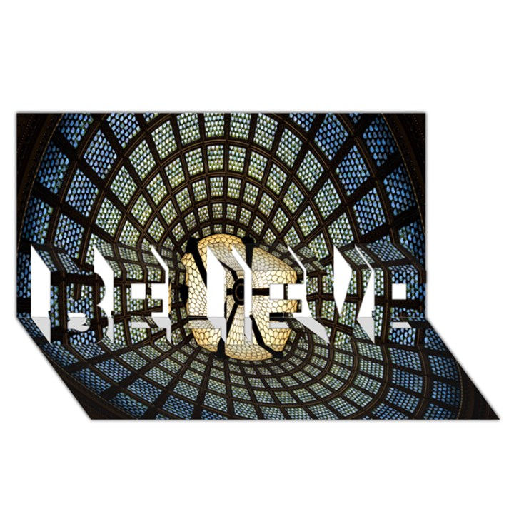 Stained Glass Colorful Glass BELIEVE 3D Greeting Card (8x4)