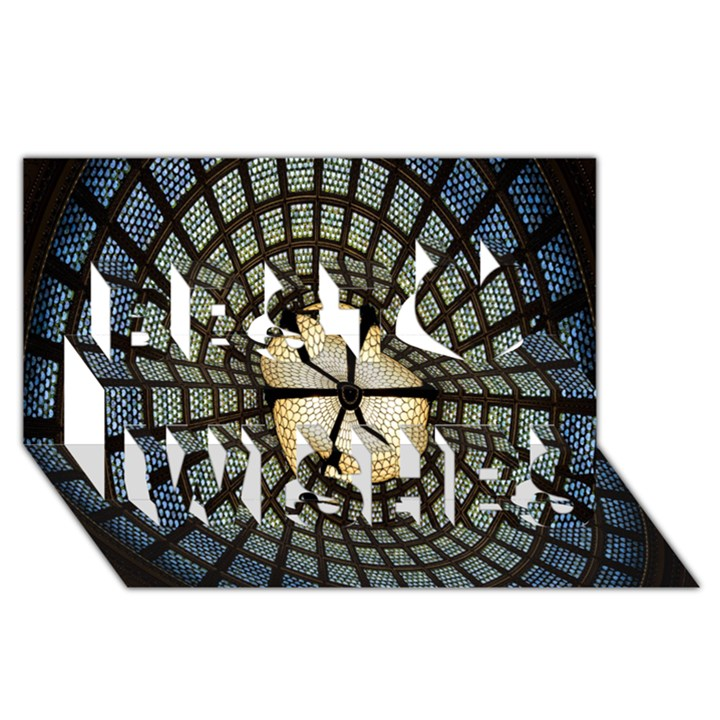 Stained Glass Colorful Glass Best Wish 3D Greeting Card (8x4)