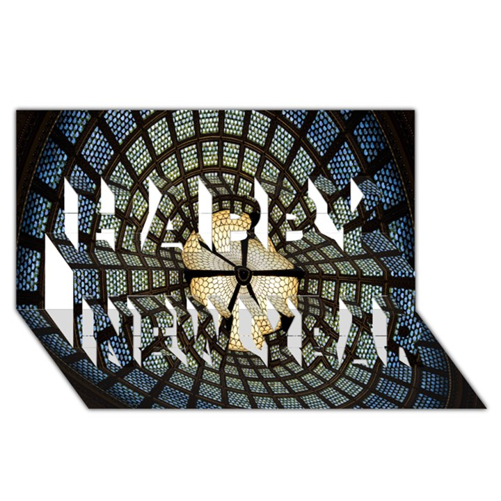 Stained Glass Colorful Glass Happy New Year 3D Greeting Card (8x4)
