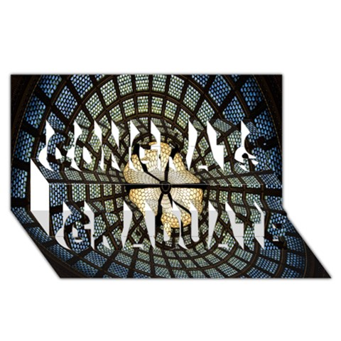 Stained Glass Colorful Glass Congrats Graduate 3D Greeting Card (8x4)